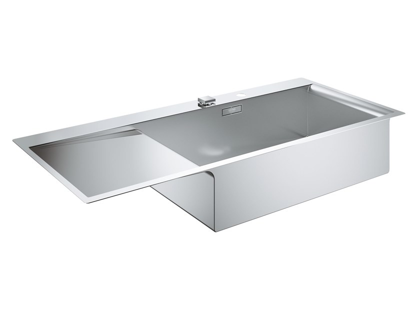 Single flush-mounted stainless steel sink with drainer K1000 - 31582SD0 | Sink by Grohe