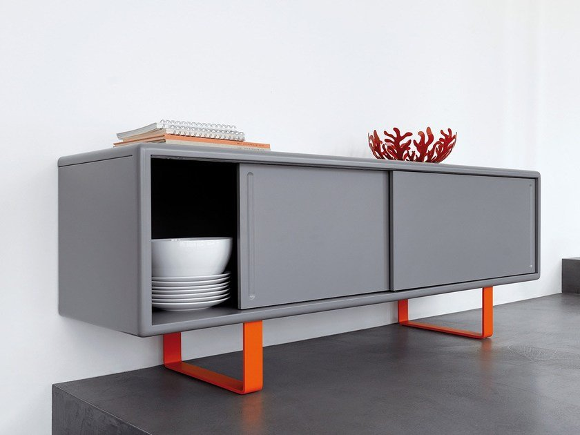 Metal sideboard with sliding doors K16 S1 by müller möbelfabrikation