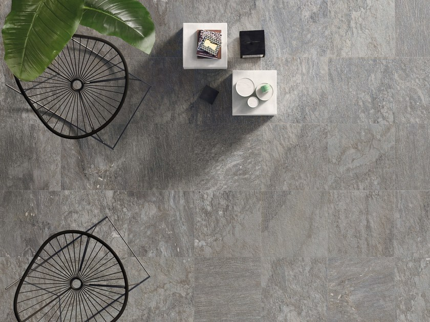 Anti-slip frost proof porcelain stoneware flooring with stone effect K2 SOURCE GREY by CERAMICHE KEOPE