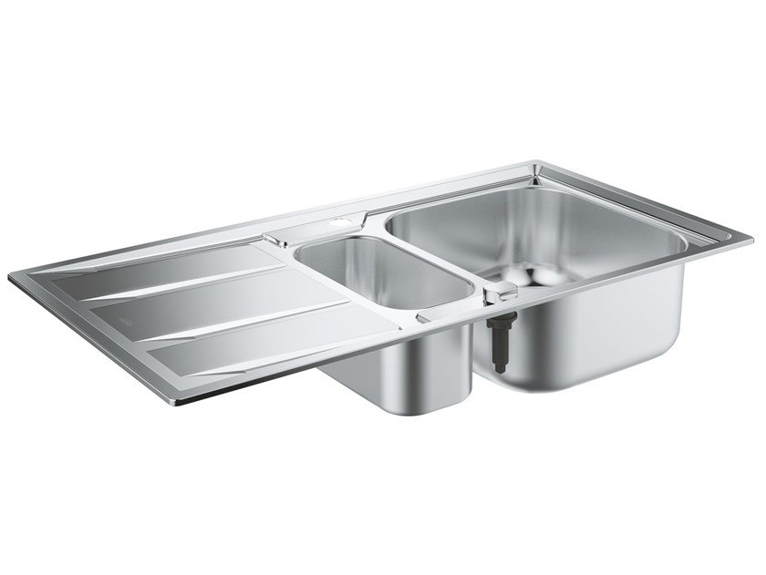 1 1/2 bowl built-in stainless steel sink with drainer K400 - 31567SD0 | 1 1/2 bowl sink by Grohe