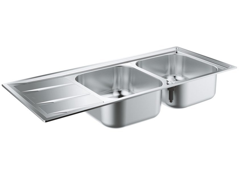 2 bowl built-in stainless steel sink with drainer K400 - 31587SD0 | 2 bowl sink by Grohe