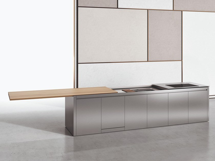 Stainless Steel And Wood Kitchen With Island K5 By Boffi