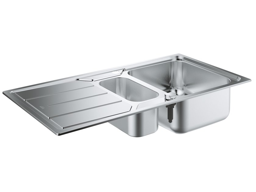 1 1/2 bowl built-in stainless steel sink with drainer K500 - 31572SD0 | 1 1/2 bowl sink by Grohe