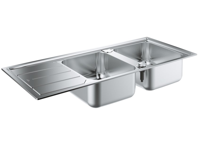 2 bowl built-in stainless steel sink with drainer K500 - 31588SD0 | 2 bowl sink by Grohe