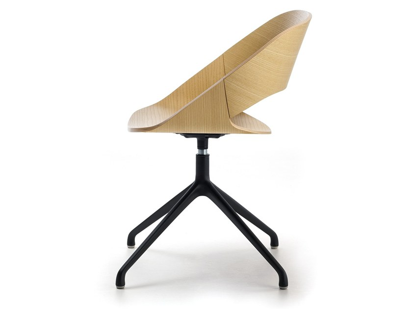 Swivel trestle-based chair KABIRA WOOD SP | Chair by arrmet