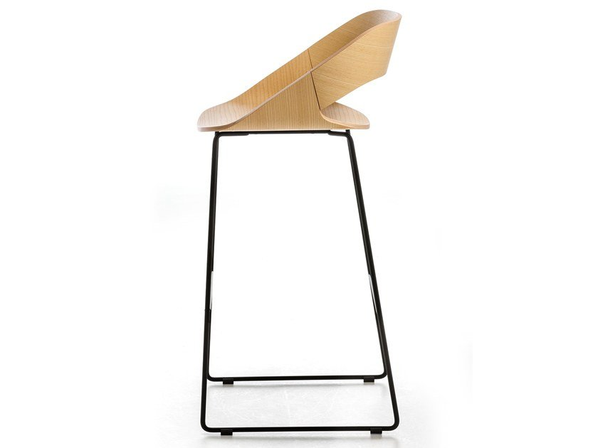 High sled base stool with footrest KABIRA WOOD ST | Stool by arrmet