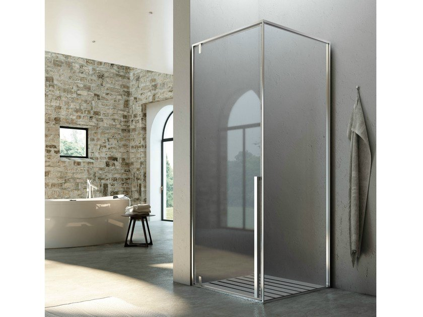 Corner shower cabin with pivot door KAHURI KC+KL by Glass1989