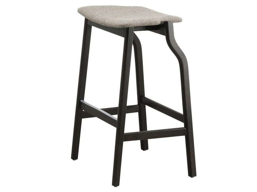 High wooden stool with integrated cushion KALEA | High stool by Bedont