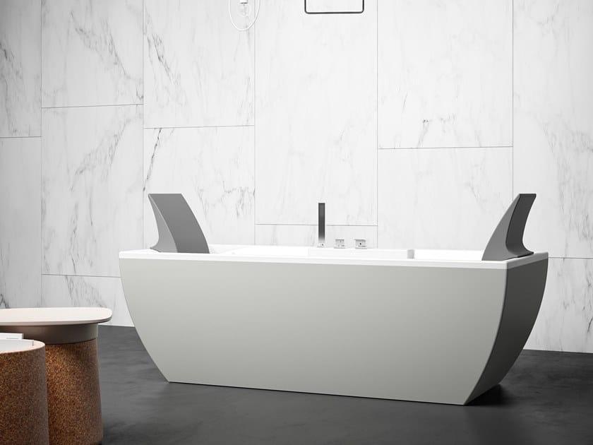 Vasca da bagno centro stanza rettangolare in Kcryl KALÌ C by Karol