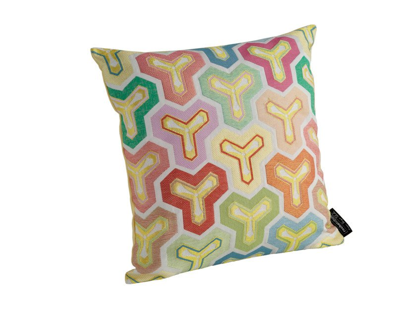 Motif square fabric cushion with removable cover KAME | Square cushion by ROCHE BOBOIS