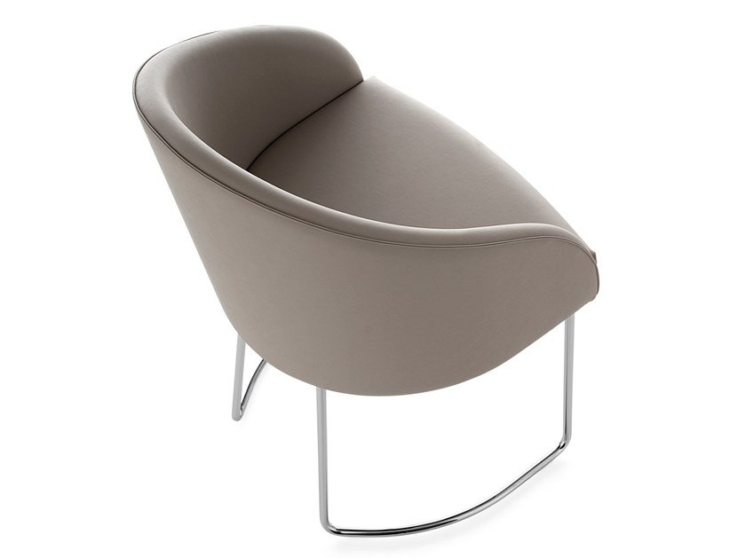 Sled base leather reception chair KAMEO   Sled base chair by Kastel