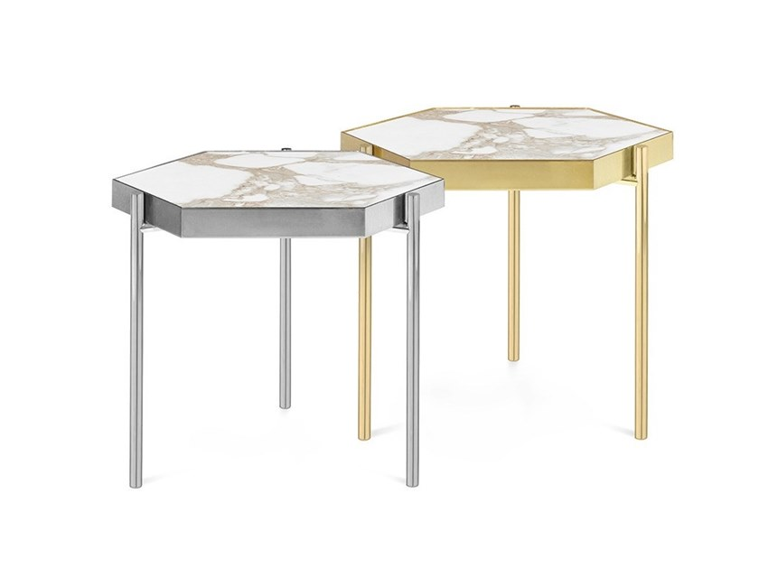 KANDINSKY CALACATTA Hexagonal Coffee Table KANDINSKY Collection By - Hexagon marble coffee table