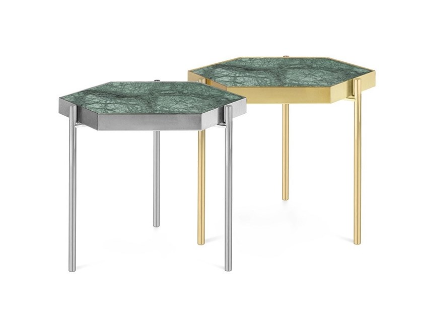 Hexagonal Indian Green marble coffee table KANDINSKY INDIAN GREEN | Hexagonal coffee table by OIA Design