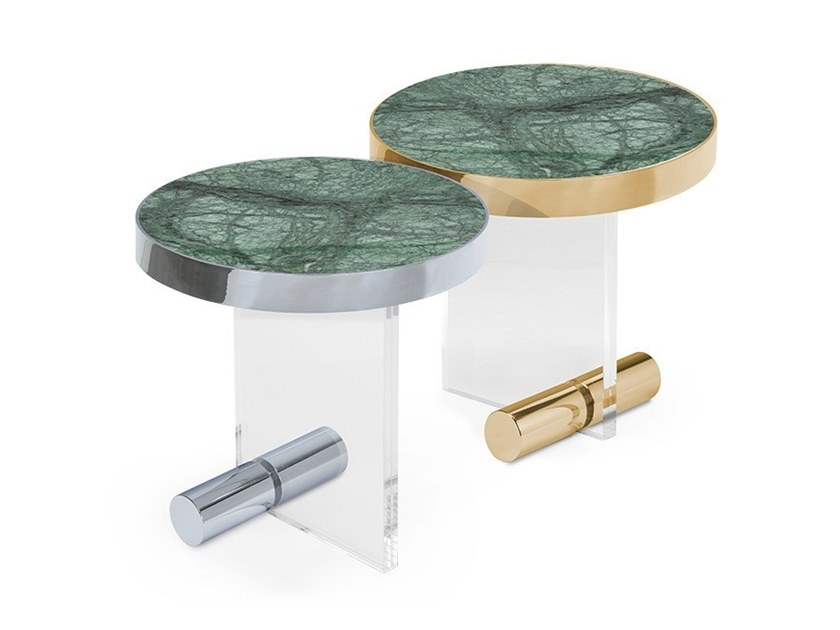 Round Indian Green marble coffee table KANDINSKY INDIAN GREEN | Round coffee table by OIA Design