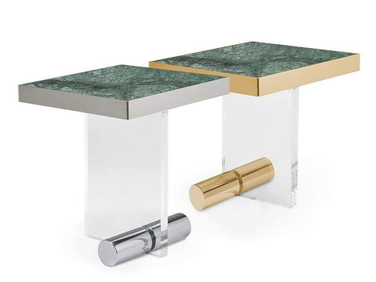 Square Indian Green marble coffee table KANDINSKY INDIAN GREEN | Square coffee table by OIA Design