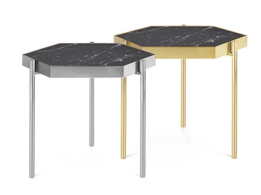 Hexagonal Nero Marquina marble coffee table KANDINSKY NERO MARQUINA | Hexagonal coffee table by OIA Design