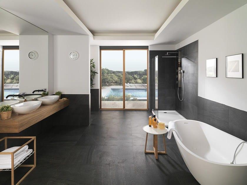 Porcelain stoneware wall/floor tiles with stone effect KAOS BLACK by URBATEK