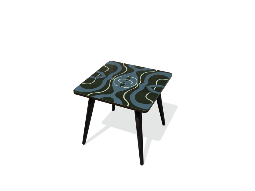 Rectangular beech wood and HPL side table KARMA 22 S by Bazartherapy