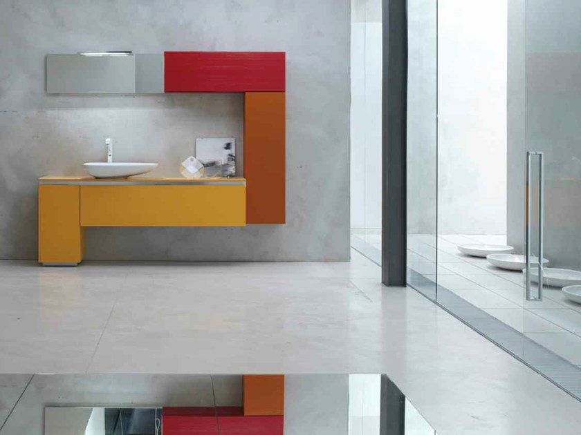 Lacquered single vanity unit KARMA - COMPOSITION 39 by Arcom