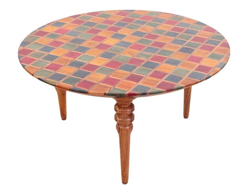 Low round teak coffee table KAROVY by ALANKARAM