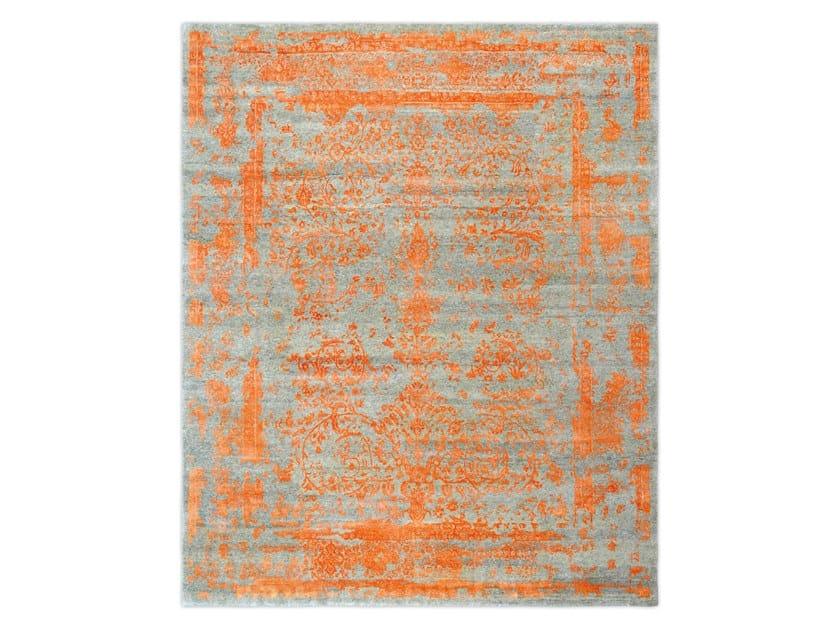 Handmade custom rug KASHMIR BLAZED FAST ORANGE by Thibault Van Renne