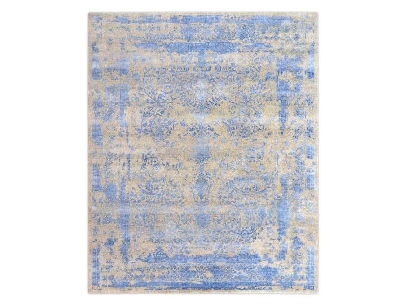 Handmade custom rug KASHMIR BLAZED SKY BLUE by Thibault Van Renne