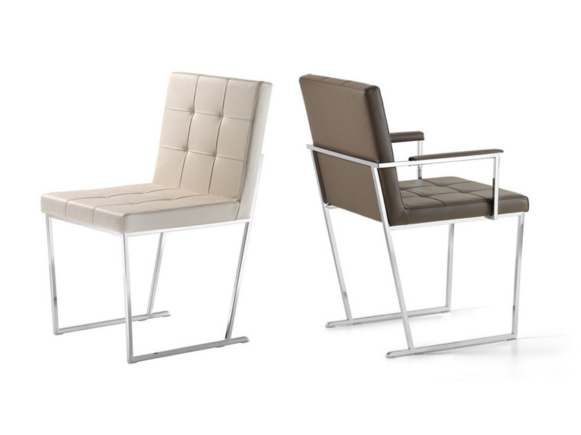 Sled base tufted leather chair KATE by Cattelan Italia