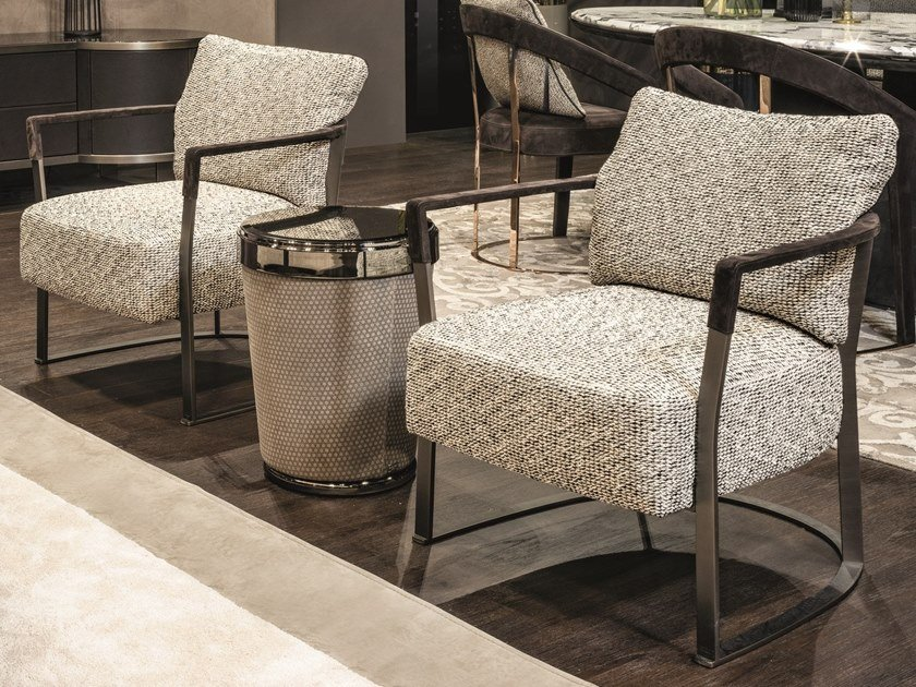 Fabric easy chair with armrests KATHRYN | Fabric easy chair by Longhi
