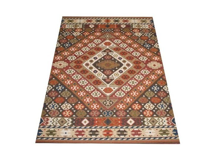 Rectangular fabric rug with geometric shapes KAZAK | Geo5 by EBRU