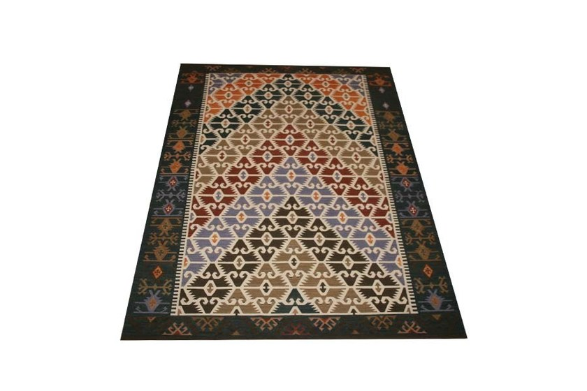 Rectangular fabric rug with geometric shapes KAZAK | Kelim Geometrical by EBRU