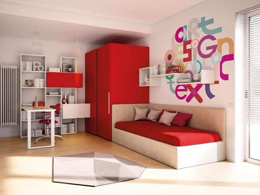 Fitted wooden teenage bedroom KC 205 | Bedroom set by Moretti Compact