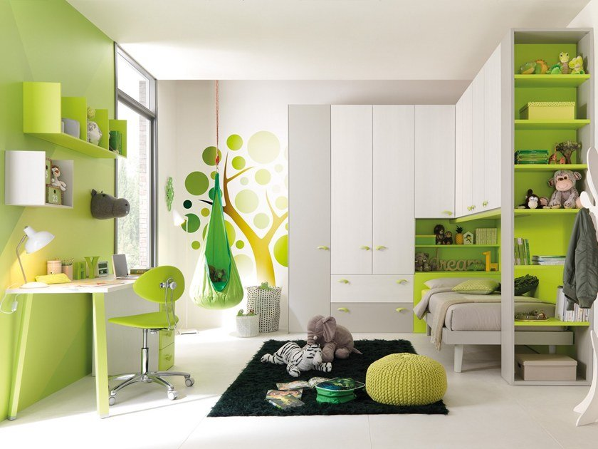 Fitted birch bedroom set with bridge wardrobe KC407 | Bedroom set with bridge wardrobe by Moretti Compact