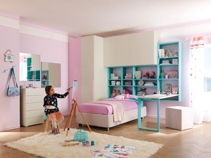 Fitted wooden bedroom set KC408 | Bedroom set by Moretti Compact