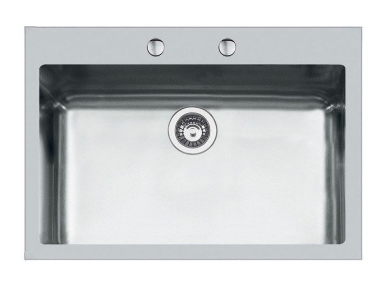 Single flush-mounted stainless steel sink KE 71X40 TPR FT BR INOX by Foster