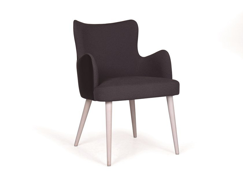 Upholstered fabric chair with armrests KELLY 04 FLOW MAPLE by Fenabel