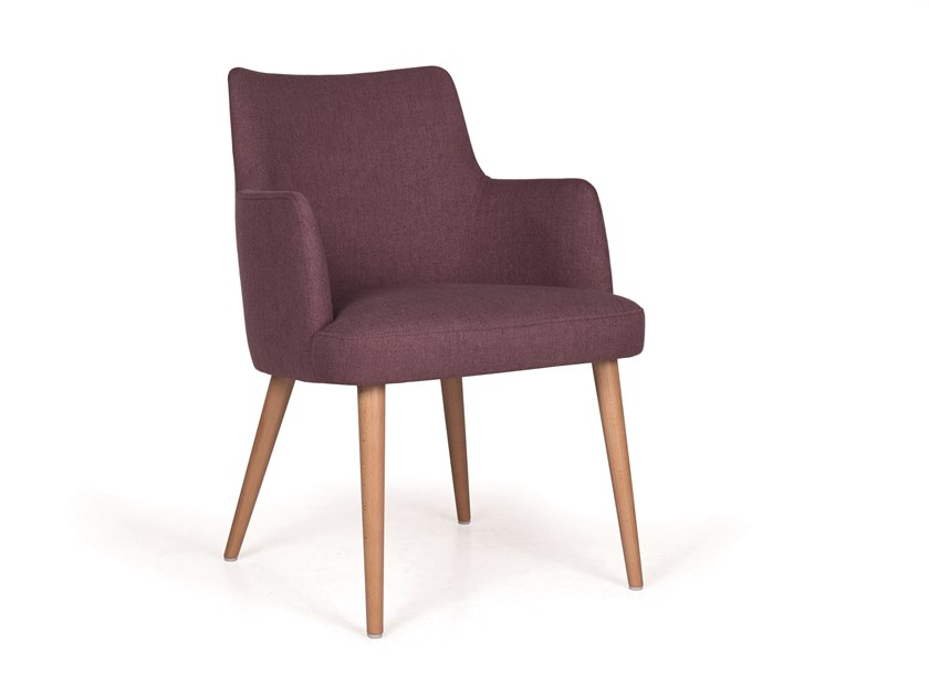 Upholstered fabric chair with armrests KELLY 04 MAPLE by Fenabel