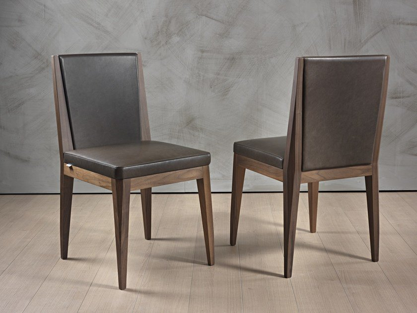 Upholstered leather chair KELLY by Pacini & Cappellini