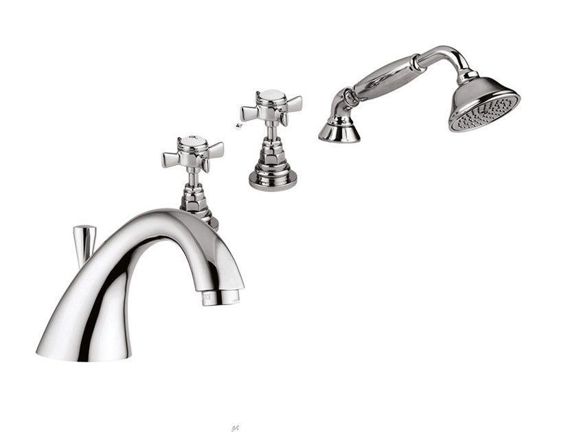 4 hole bathtub set with hand shower KENSINGTON  - 3765 by Rubinetteria Giulini