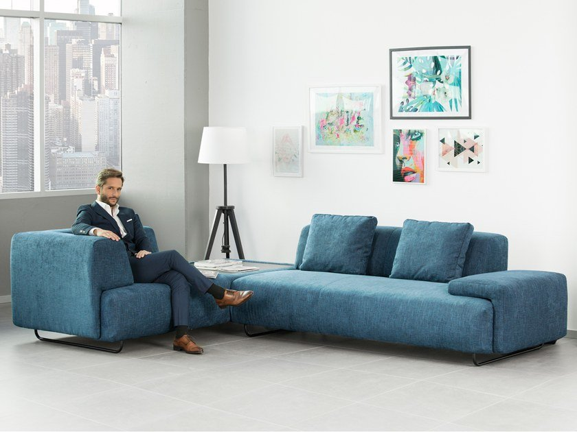 Corner fabric sofa with integrated magazine rack KENTIA by Aquinos Collection