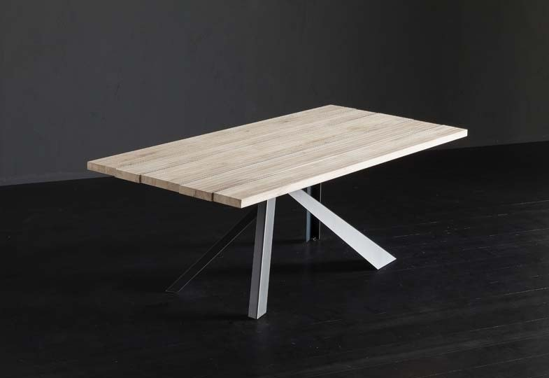Rectangular wooden dining table KENZO + METAL by AltaCorte