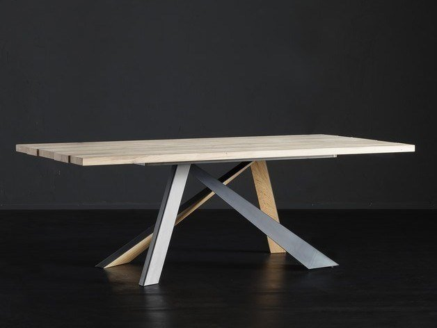Rectangular wooden dining table KENZO + METAL/LEGNO by AltaCorte