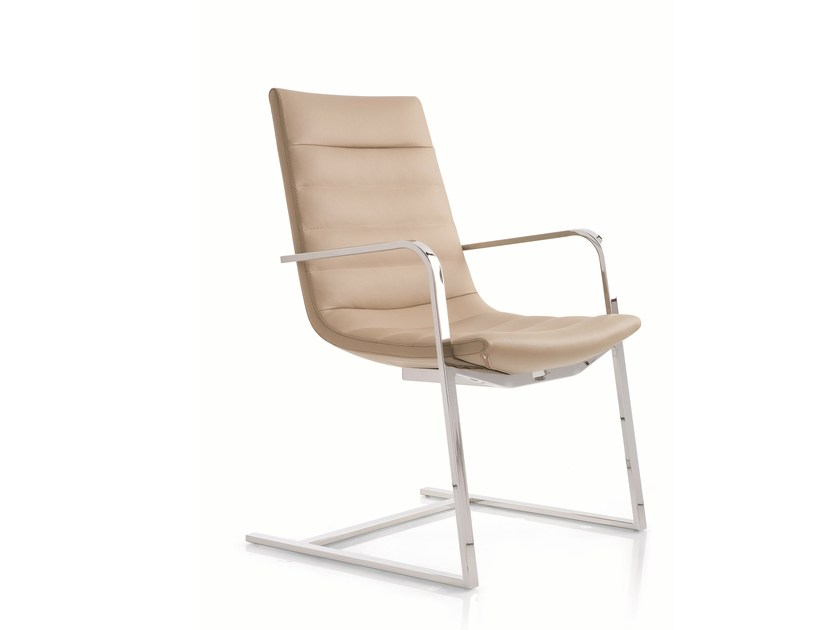 Cantilever leather chair with armrests KEY | Cantilever chair by Emmegi