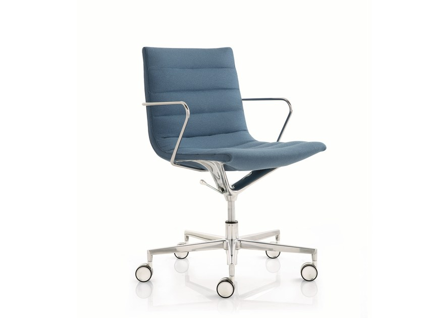 Fabric task chair with 5-Spoke base with armrests KEY | Task chair with 5-Spoke base by Emmegi