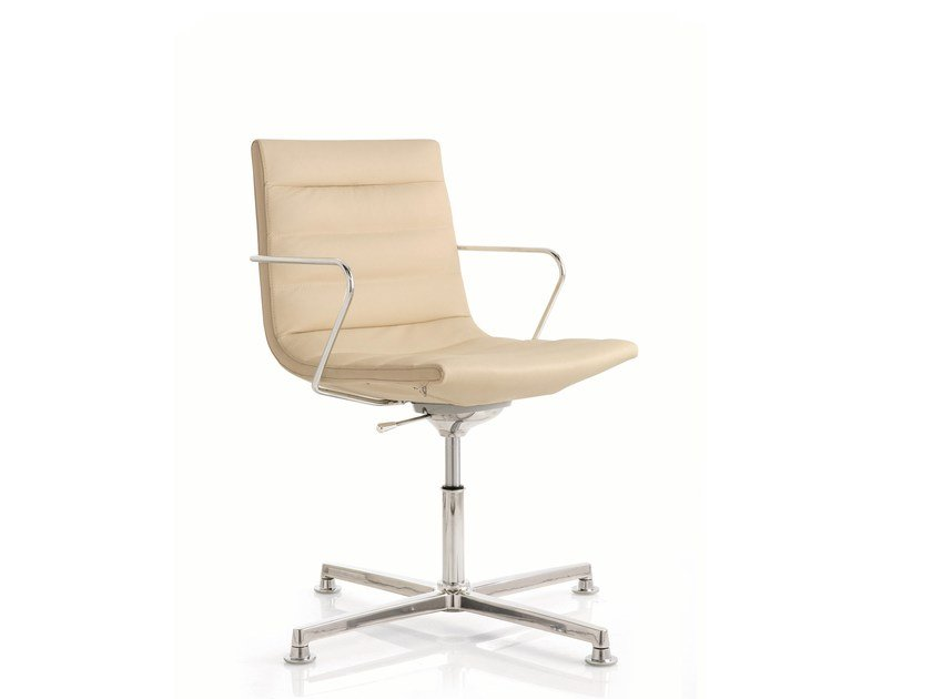 Swivel leather task chair with 4-Spoke base KEY | Task chair with 4-Spoke base by Emmegi