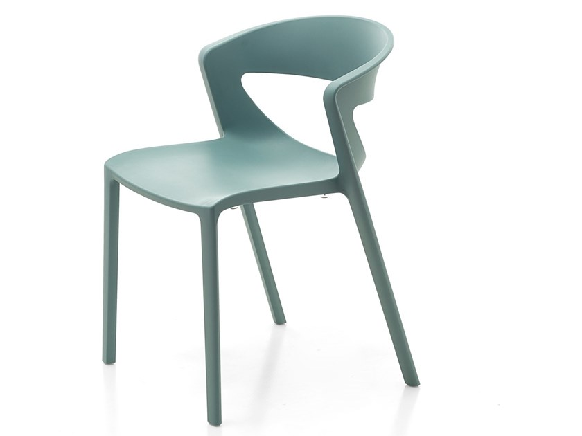 Stackable open back plastic chair KICCA ONE   Open back chair by Kastel