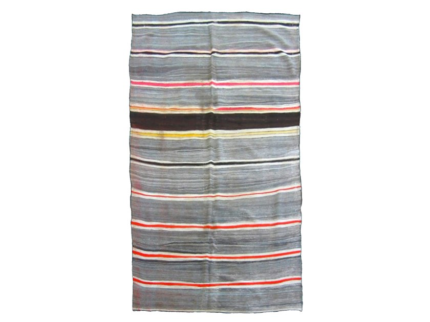 Rectangular striped wool rug KILIM TA390BE by AFOLKI