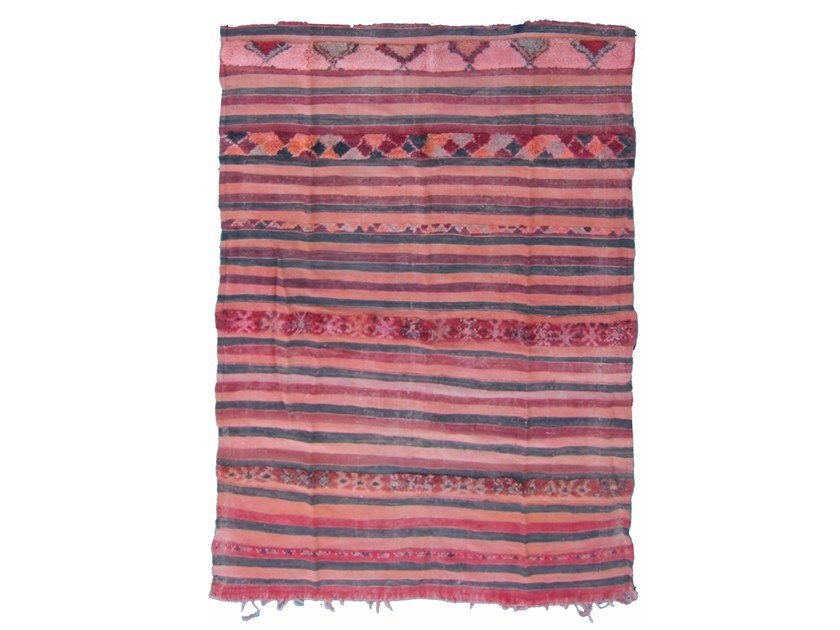 Rectangular striped wool rug KILIM TA55BE by AFOLKI