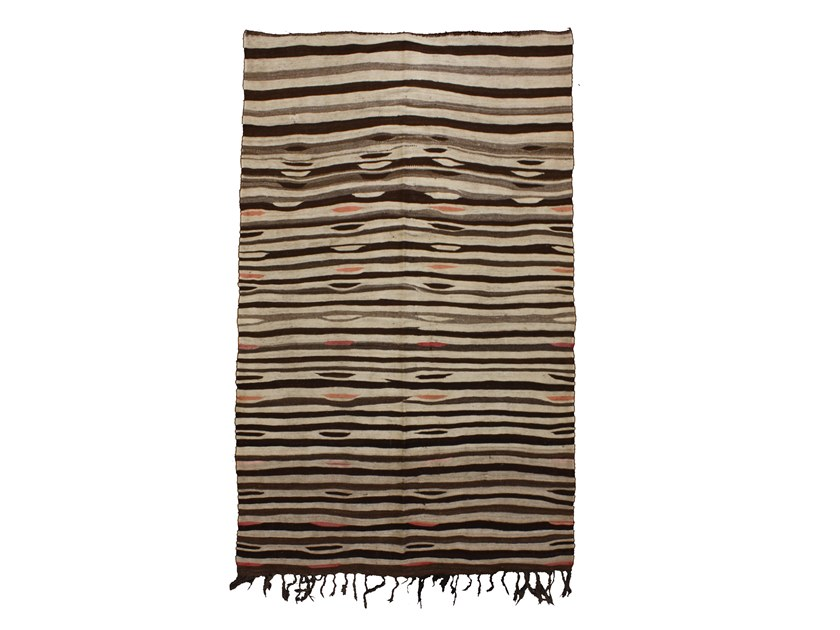 Rectangular striped wool rug KILIM TAA705BE by AFOLKI