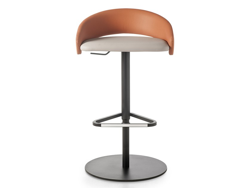 Height-adjustable leather office stool KIMMI | Office stool with footrest by Kastel