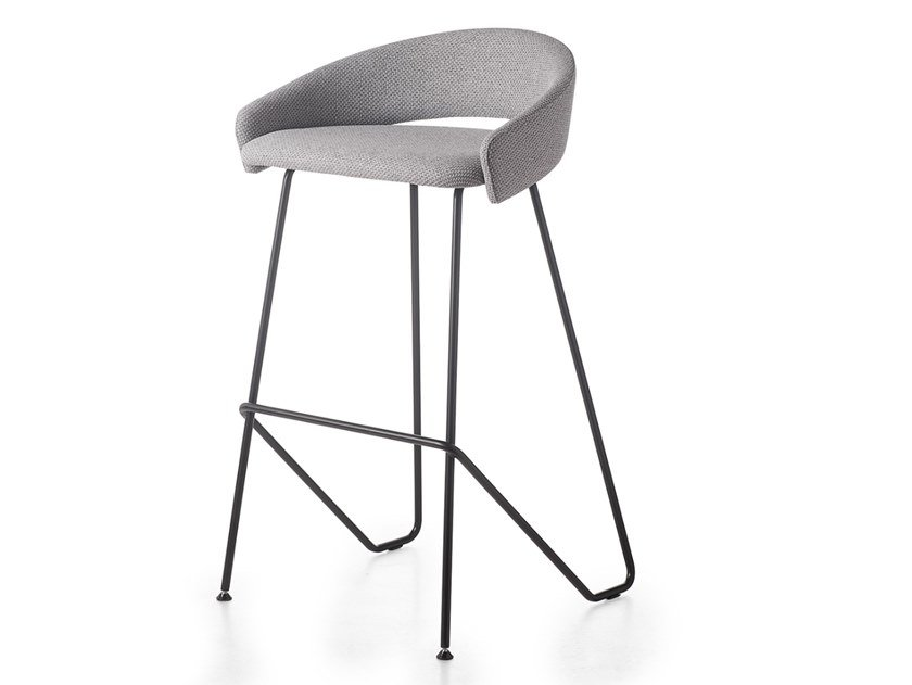High fabric stool with footrest KIMMI | Stool by Kastel